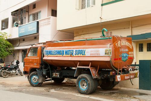water tanker supplies water